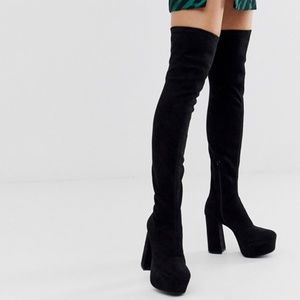 ASOS Knockout platform thigh high boots in black